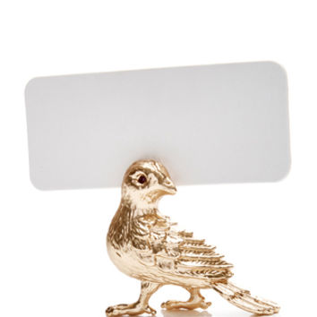 Set of 6 24K Gold Plated Bird Place Card Holders