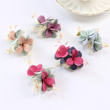 1PC Double Layers Flower Lace Gold Hair Clips For Women Girls Headband Hair Ornament Headwear Hairpin Hair Accessories barrettes