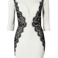 White Lace-Eyelash Bodycon Dress