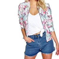 Women's Mint/Pink Fashion Forward Long Sleeve Floral Print Chic Satin Shine Blazer Jacket