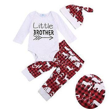 Newborn Little Brother Baby Boy Romper +Deer Pants +Hat Outfits Clothes