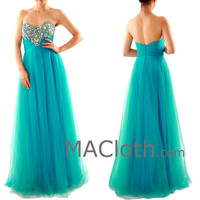 Strapless Sweetheart With Crystals Tulle Long Blue Prom Dress