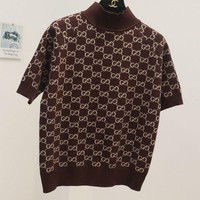 ONETOW GUCCI new autumn and winter fashion collar short-sleeved knit shirt Brown