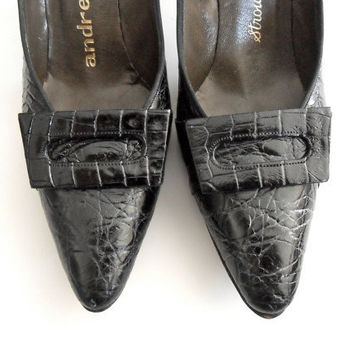 Andrew Geller Shoes in Black with Alligator Texture & Buckle Vintage Size 7 AAA