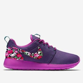 Custom Midnight Teal Floral Roses Nike Roshe Run Shoes Fabric Pattern Men's Women's Bi