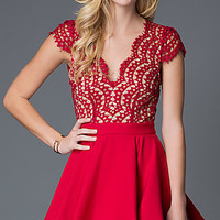 Open Back Red Holiday Dress with Lace Bodice