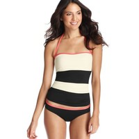Black and White Colorblock Bandeau Tankini Top