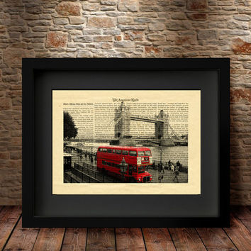 London Art Print, London City Print, Wall Art, London Red bus, London Dictionary Print, City print, Home Decor,Travel, London Print -48