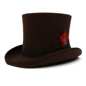 Premium Brown Wool Top Hat