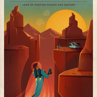 Discover Valles Marineris Mars Travel Poster