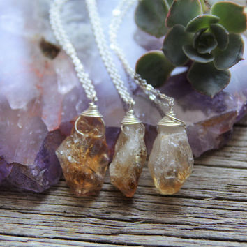 Silver Citrine Necklace / Raw Crystal Necklace