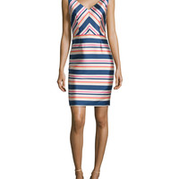 Sleeveless Stripe Sheath Dress,