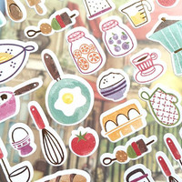 kitchen planner sticker cooking baking kitchen ware sticker cooking recipes cooking book cookbook chef notebook label icon cooking planner