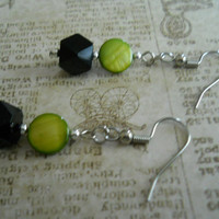 Beadwork Olive Shell Earrings Black Silver Dark Olivine Avocado Green Mother of Pearl Beaded Jewelry