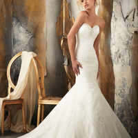 Mori Lee 1916 Strapless Lace Mermaid Wedding Dress