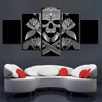 HD Prints Pictures Modular Canvas Wall Art 5 Pieces Skull Gun Roses Paintings Modern Black And White Poster Home Decor Framework