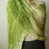 Loom Knit Clover Field Green Shawl / Wrap