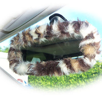 Brown Leopard animal print faux fur furry fluffy fuzzy car rear view interior mirror cover