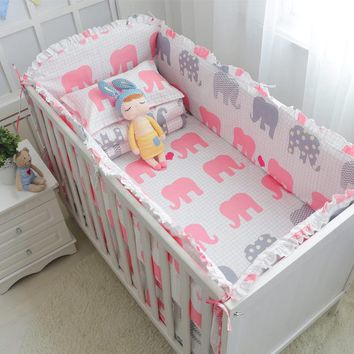 Baby 5 Piece Crib Bedding Set / Bumpers - 100 % Cotton - Free Shipping - Pink Elephants