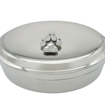 Dog Animal Paw Track Pendant Oval Trinket Jewelry Box