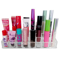 Evelots Clear Acrylic Lipstick Organizer With 24 Compartments,Nail Polish Holder