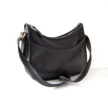 ONETOW Vintage Coach Purse. Coach Saddle Bag. Large Black leather Cross Body Bag.
