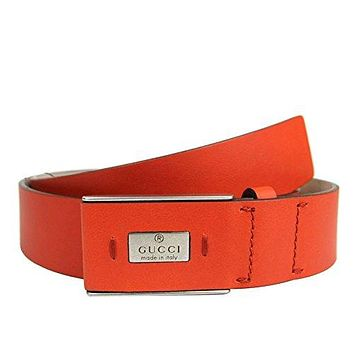 Gucci Men's Leather Hidden Buckle Trademark Belt 353345