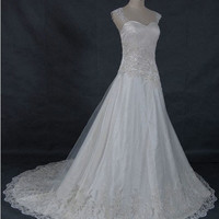 A-line Sweetheart  Cathedral Train Satin Tulle  Wedding Dresses With Lace Beading Free Shipping