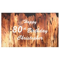 Personalize 80th Birthday Sign Faux Weathered Wood