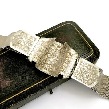 Asian 900 Silver Belt, Intricate Floral Repousse 3 Piece Buckle, Woven Silver Belt, Grommets for Adjustable Length, Vintage Gift for Her