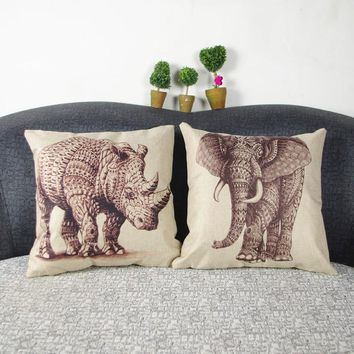 HD print dining chair cushion 45x45cm car seat cushions Home decorative pillow pillowcase Simple elephant and rhino for bed room