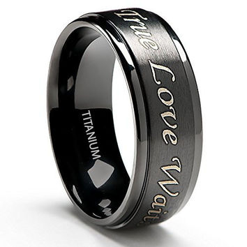 "8MM ""True Love Waits Purity"" Engraved Ring in Titanium Black Plated"