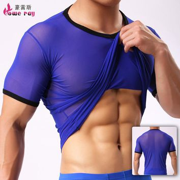 Undershirt Men Sexy Ice Silk Spandex See Through Basic T Shirt Seamless Polyester Tops Singlet Underwear Transparent Top Men