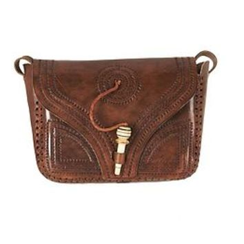 Vintage Look Hand Tooled Leather Satchel Bag