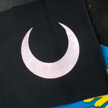 Crescent Moon patch // Light Pink On Black Crescent Moon Patch
