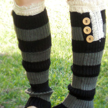 Ellie lace trim knit boot socks with buttons, leg warmers in two tone grey and black