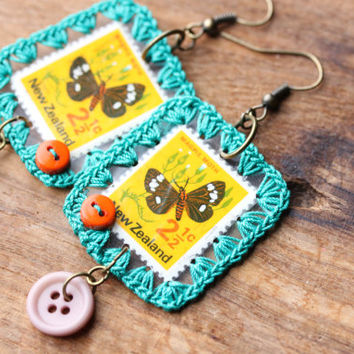 Moth Postage Stamp Earrings, Retro Moth with Crochet Border and Buttons, Vintage Postage Stamp Earrings, Postage Stamp Jewelry