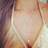 Gold Seashell Lariat Necklace