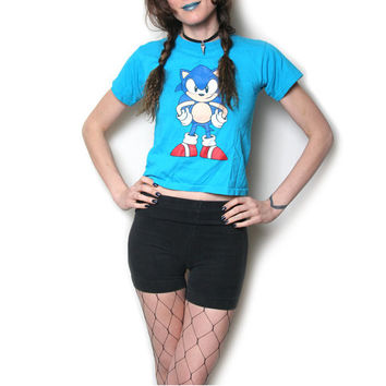 Sonic The Hedgehog Baby Tee - Sonic The Hedgehog Shirt - Sega Genesis - 90s 1990s - Vintage Tee - Club Kid - Grunge - Raver - Cyber