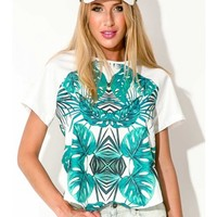 River Leaves Top - Green Print - CLOTHING