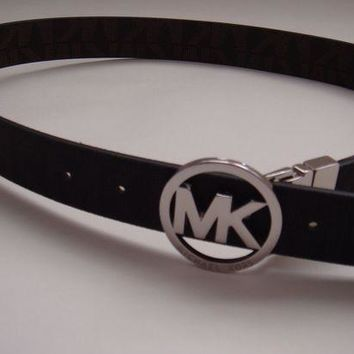 DCCKWA2 New Michael Kors Black & Silver MK Logo Belt Small (Reversible to Brown)