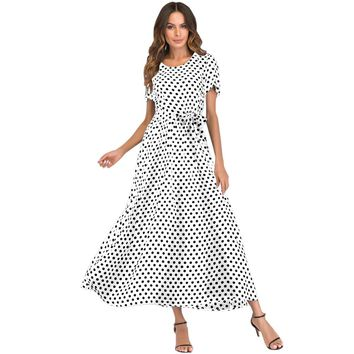 Casual Summer Dress XXXL 4XL 5XL Plus Size Women Long Polka Dot Dress Short Sleeve High Waist Tie Vintage Beach Maxi Dress