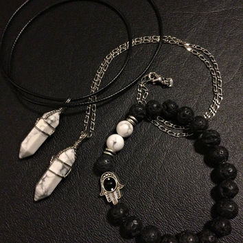 Crystal Necklace Bracelet Bundle- Howlite Natural Lava Rock Stone Agate Hamsa Hand Gemstone Stretch Hippie Jewelry Bohemian Spiritual