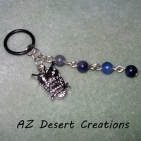 Owl MOD Charm with Blue Adventurine Dangle Vaporizer Charm Handmade