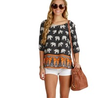 Promo- Navy Tribal Elephant Blouse