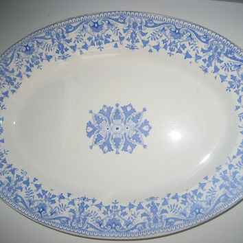 Light Blue and White Staffordshire China Large Antique Serving Tray Aesthetic Movement Blue Transferware Platter England