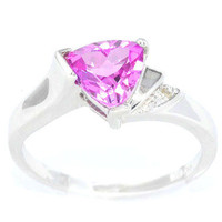 Pink Sapphire Trillion Diamond Ring .925 Sterling Silver Rhodium Plated