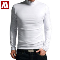 New Fashion High-necked Collar Slim Fit Long Sleeve T Shirt Men Trend Casual Men T-Shirt Cotton T Shirts