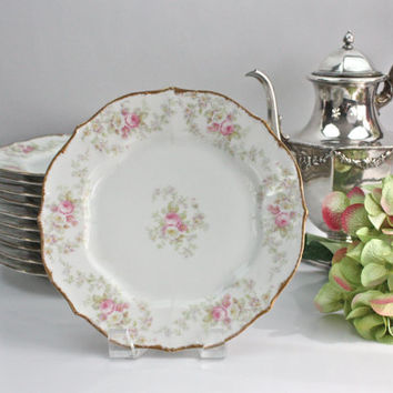 Limoges Luncheon Plates / Pink and White Roses / Elite Works (Bawo & Dotter) SETS of 4