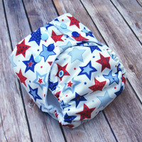 Cloth Pocket Diaper -  Patriotic Cloth Diaper - 4th of July - Red White Blue American - One Size Diaper- Gender Neutral Cloth - Eco-Friendly